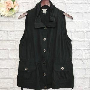 Cache button up vest Black Nylon/Polyester